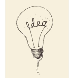 Concept creative light bulb icon doodle hand drawn vector
