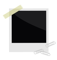 Isolated instant photo with tape and paperclips vector