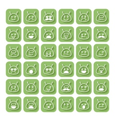 Set of emoticons space aliens vector