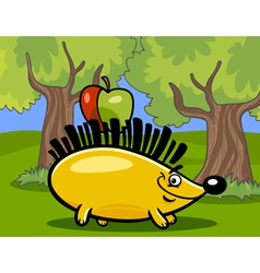 Hedgehog with apple cartoon vector