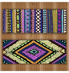 Unique abstract ethnic pattern card set on wood vector