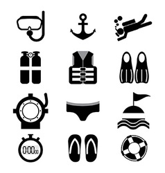 Diving icon set vector