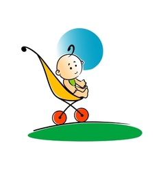 Cute little baby sitting in a stroller vector
