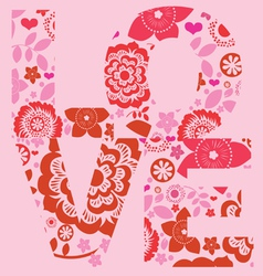 Valentine day love message floral print vector