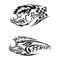 Snarling wild boar off road icon vector