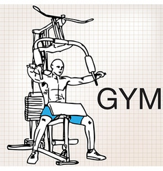 Muscular man exercising on a lat machine in gym vector