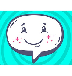 Speech bubble with icon of smile on blue vector