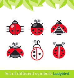 Ladybird ladybug set of symbols vector