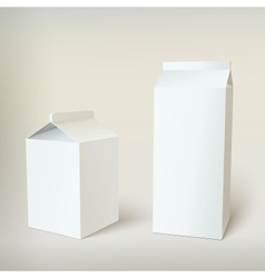 Milk carton packages blank white vector