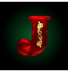 Velvet j letter with gold vector