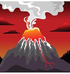 Volcano errupting vector