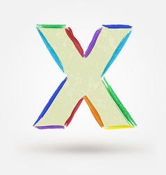 Alphabet letter x watercolor paint design element vector