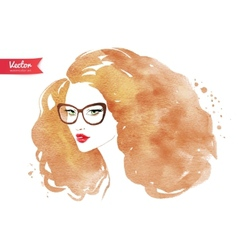 Young woman wearing glasses vector
