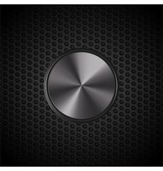 Black metallic button on mesh vector