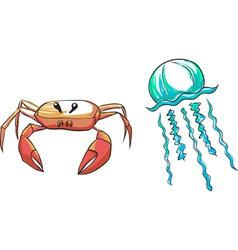 Set crab medusa vector
