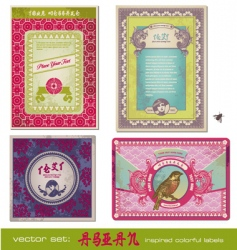 Asia vintage labels vector