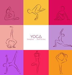 Yoga poses silhouette set vector