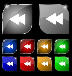 Rewind icon sign set of ten colorful buttons with vector