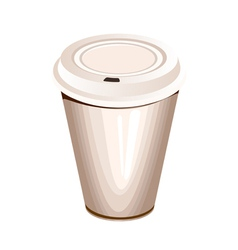 A blank white paper coffee cup with plastic lid vector