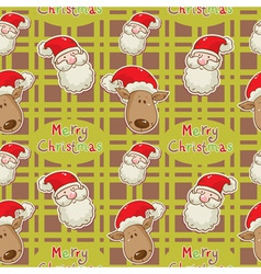 Santa deer seamless big redgreen vector
