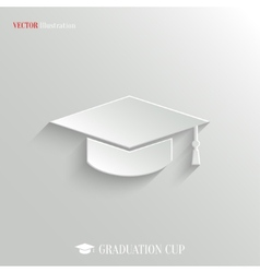 Graduation cap icon - white app button vector