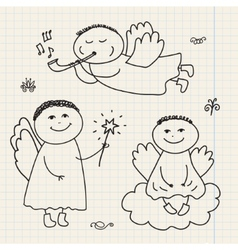 Set of doodle hand drawn christmas cartoon vector