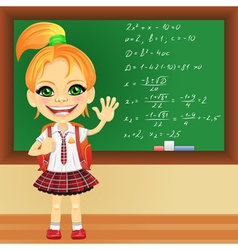 Girl in a school uniform near blackboard vector