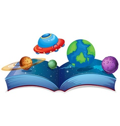 Book with planets and ufo vector