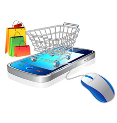 Mobile and shopping cart vector