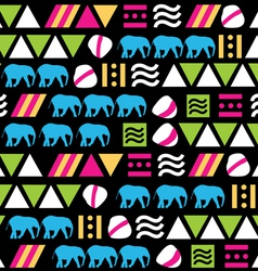 Seamless colorful pattern with animal and geometri vector