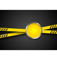 Danger tape abstract background with metal circle vector