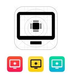 Computer cpu icon vector
