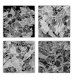Unique pattern card set with art flowers vector