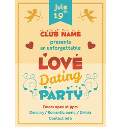 Love dating party flyer vector