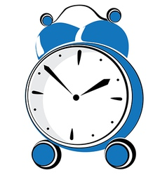 Blue retro alarm clock vector