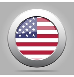 Metal button with usa flag vector