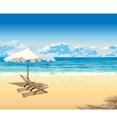 On the beach under an umbrella tropical vacation vector