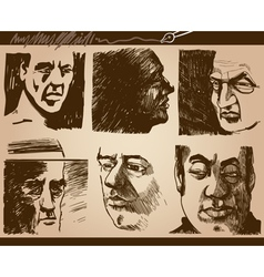 People faces artistic drawings set vector