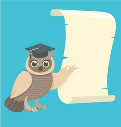 Wise owl with a scroll vector