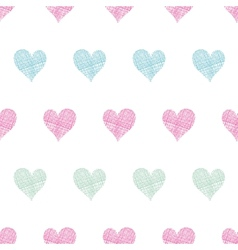 Colorful polka dot textile hearts seamless pattern vector