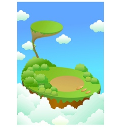 Green landscape over cliff vector