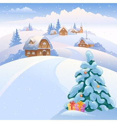 Winter village on the hills vector