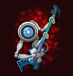 White robot with guitar vector