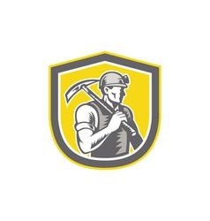 Coal miner pick axe shield retro vector