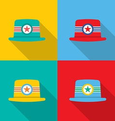 Set of hats on colorful background vector