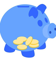 Blue piggy bank with coins vector