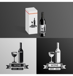 Wine alcohol drink logo symbol bottle glass vector