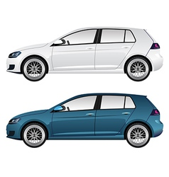 White and blue car vector