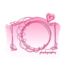 Camera scribble with a heart on a white background vector