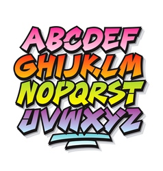 Bright cartoon comic graffiti doodle font alphabet vector